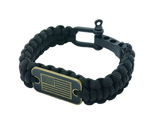 aarrows & Co USA Flag Paracord Survival Bracelet High Tensile Cobra Weave with Adjustable Bow Shackle (Stealth Black)