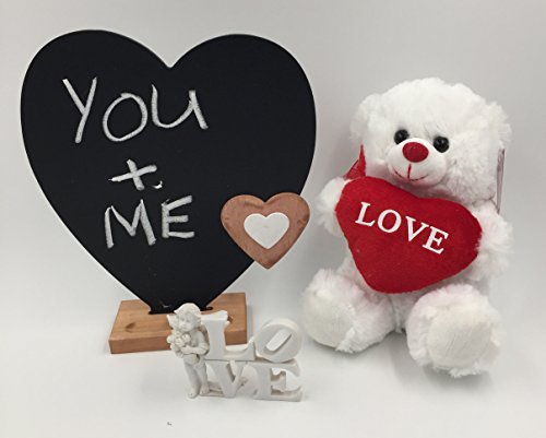 Valentine Heart Teddy Bear | Love Cherub - Angel Decoration | Valentines Message Chalk - Slate Board