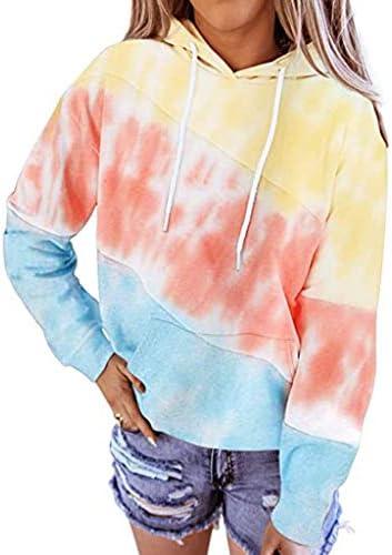 Women`s Hooded Tie-Dye Gradient Sweatshirt Autumn Winter Long Sleeve Pullovers Tops E-Scenery