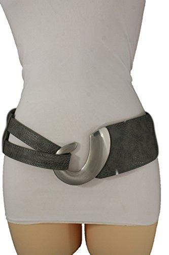 TFJ Women Elastic Wide Fashion Belt Timeless Hip Waist Silver Metal Hook Buckle S M (Grey) (Silver Tone Buckle)