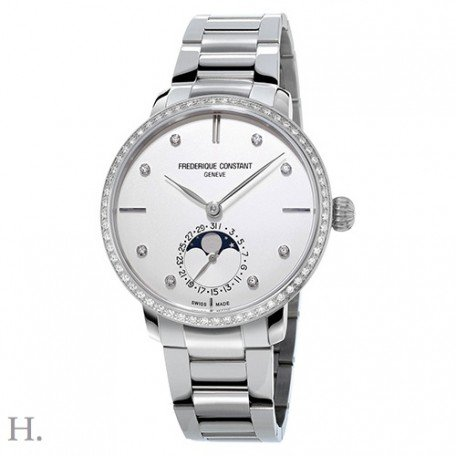 Frederique Constant Slimline Moonphase StainlessSteel Automatic Mens Watch FC-703SD3SD6B