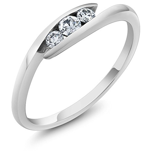 Gem Stone King 18K Solid White Gold Diamond 3 Stone Bypass Women's Ring Wedding Band (Size 7)