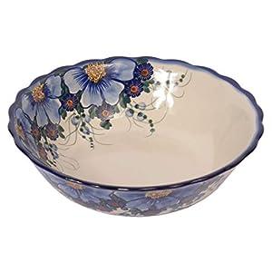 Traditional Polish Pottery, Large Decorative Wavy Bowl 1.5l, Boleslawiec Style Pattern, M.601.Passion
