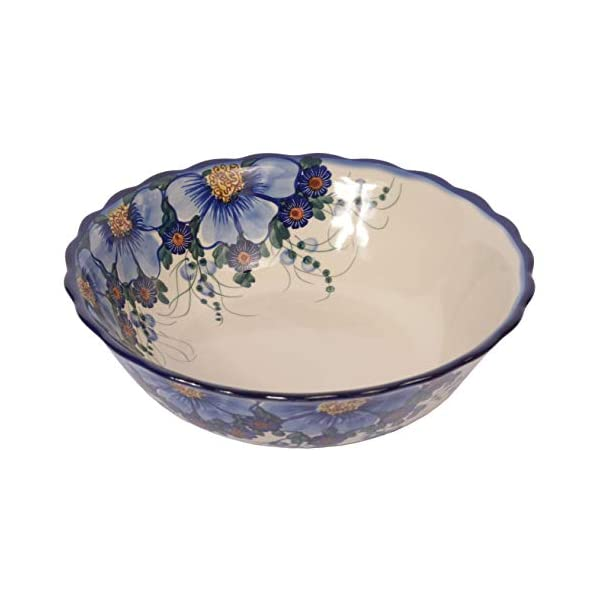 Traditional Polish Pottery, Large Decorative Wavy Bowl 1.5l, Boleslawiec Style Pattern, M.601.Passion