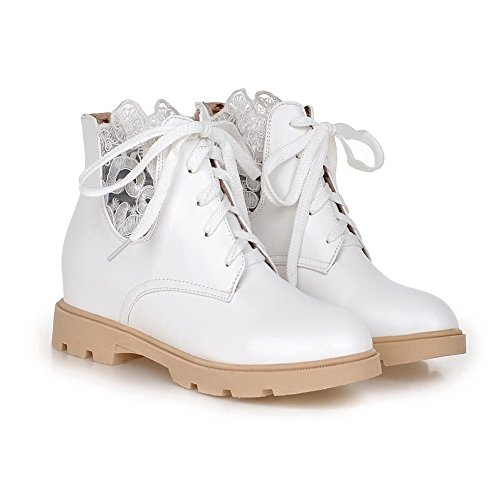 Allhqfashion Women's Round Closed Toe Low-top Kitten-Heels Solid PU Boots White 2GqBE