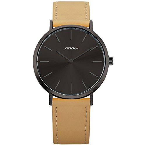 SINOBI Men Quartz Analog Watch with Minimalist Ultra Thin Black Dial and Elegant Brown Leather