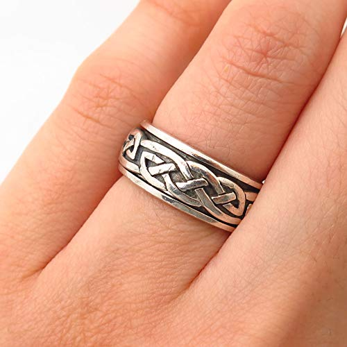925 Sterling Silver Peter Stone Celtic Design Rotating Band Ring Size 5 1/4 Jewelry by Wholesale Charms ()