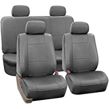 FH GROUP FH-PU002114 Classic Exquisite Leather Full Set Car Seat Covers, Airbag compatible and Split Ready, Solid Gray Color- Fit Most Car, Truck, Suv, or Van