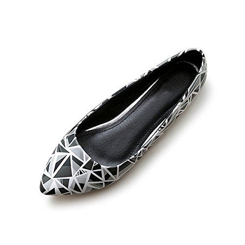 OCHENTA Mujer zapatillas de ballet en punta modo de la cabeza de la PU solo tamano 34-43 de los zapatos ocasionales Negro+Gris