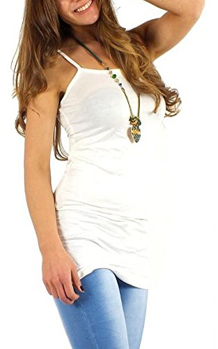 Mujer Algodón portador Top einfarbit espaguetis Jersey Top longtop manga larga Mini vestido Sleep Camiseta Onesize hemdchen algodón blanco