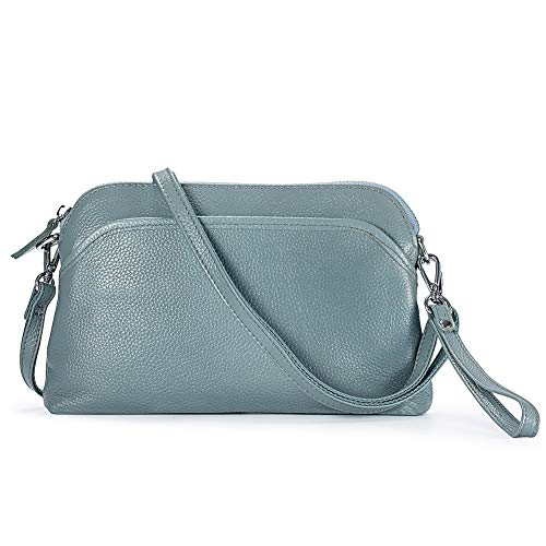 Lecxci Small Women's Soft Vintage Leather Crossbody Travel Smartphone Bag Wristlets Clutch Wallet Purse (leather with lichee pattern,Light Blue)