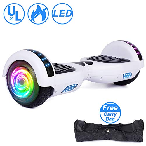 "SISGAD Hoverboard 6.5"" Self Balancing Scooter with Colorful LED Wheels Lights Two-Wheels self Balancing Hoverboard Dual 300W Motors Hover Board UL2272 Certified-White( Free Carry Bag ()"