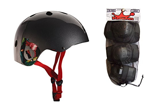 - 661 Dirt Lid Plus Skate BMX Helmet Grey CPSC with Knee Elbow Wrist Pads Medium