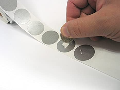 1 round silver scratch off labels stickers
