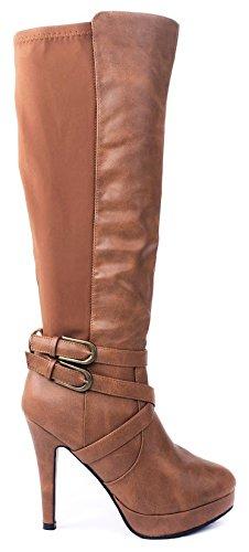 JJF Shoes Della Tan Leatherette Two Tone Triple Ankle Strap Knee High Platform Stiletto Heel (Leatherette Stiletto Heel)
