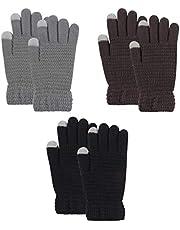Winter Knit Thermal Men Glove Women TouchScreen Gloves Fleece Lining Dual-Layer mittens