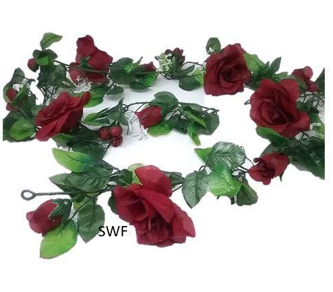 6-Open-Rose-Garland-Artificial-Silk-Wedding-Bridal-Flowers-Home-Decor-Burgundy