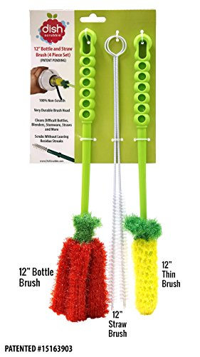 Long Bottle Brush Cleaner Set (3-in-1) and Straw Brushes or Dish Brush | Thick and Thin Brush with Straw Cleaners for Washing Baby Bottle, Water Bottles, Mugs, Wine Stemware, Hummingbird Feeder