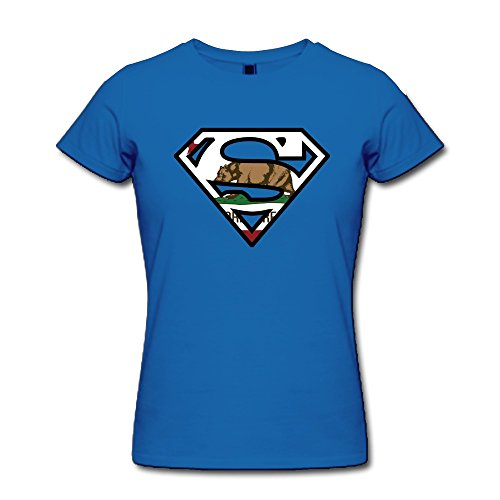 [PNHK Women's Super Californi Flag Tee Medium RoyalBlue] (Super Nerdy Costume)