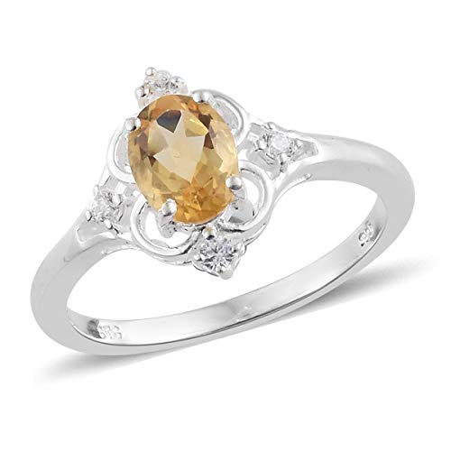 Citrine Cocktail Ring - Citrine Cubic Zirconia CZ Statement Ring 925 Sterling Silver Jewelry for Women Size 8 Ct 1.2