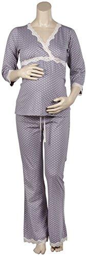 (Belabumbum Women's Dottie Maternity and Nursing Tunic & Loungepant Pajama Set, Grey dot, Large/Extra Large)