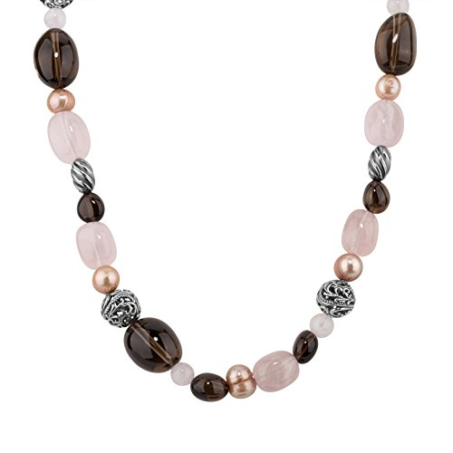Carolyn Pollack Sterling Silver Rose and Smokey Quartz Gemstone Peach Freshwater Pearl Beaded Necklace 20 Inch