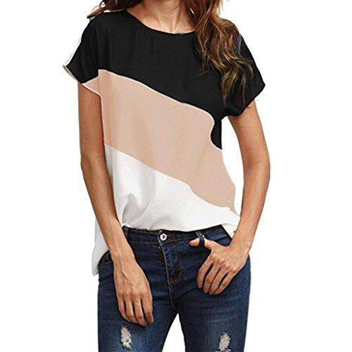 Soie Courtes de Rose OVERDOSE Color Casual Manches t Shirt Mousseline Femme Rtro Tunic Blouse Block T Tops 1P1w8z