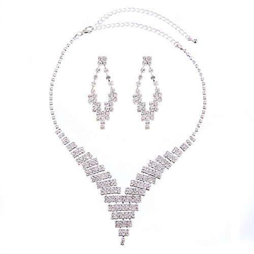Party Necklace Set (FANCY LOVE Circle Crystal Rhinestone Bridal Necklace Earrings Jewelry Sets (F16))