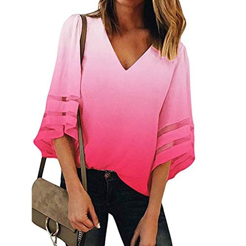 Yucode Women Gradient V-Neck 3/4 Bell Short Mesh Sleeve Tops Fashion Casual Loose Shirt Flowy Blouse Watermelon Red