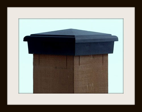 4x4 (Nominal) Black Pyramid Slim Profile Fence Post Caps (Case of 12) - With 10 Year Warranty