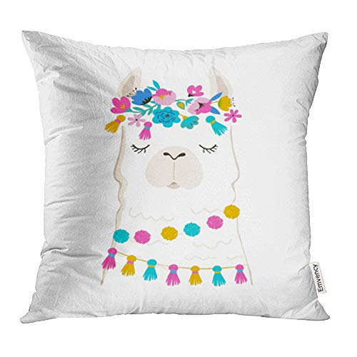 hrow Pillow Case Cushion Cover Colorful Cactus Llama Cute and Design for Nursery Birthday Pink Alpaca Baby Bohemian 18x18 Inch Cases Square Pillowcases Covers Two Sides Print ()