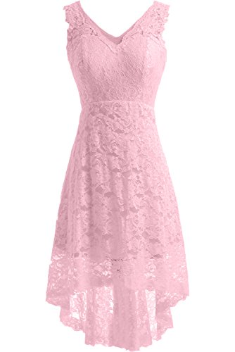 Elegant A Satin Rosa Ausschnitt Kurz V Gorgeous Brautkleid Linie Bride Hochzeitskleid Spitze 50qXBS