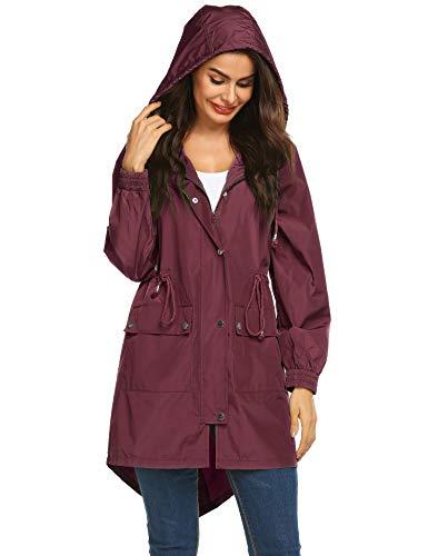 LOMON Womens Lightweight Hooded Raincoat Waterproof Packable Active Outdoor Rain Jacket (Type B Wine RED M)