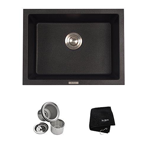 Dual Kitchen Sink (Kraus KGD-410B 24 2/5 inch Dual Mount Single Bowl Black Onyx Granite Kitchen)