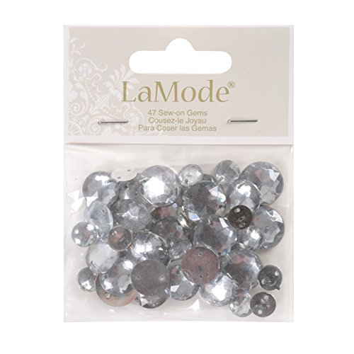 Blumenthal Lansing Round Shaped Sew On Gems, Pack of 47, Various Sizes, Great For Adding Some Sparkle To Any Kind Of Project - Clear - Some Sparkle