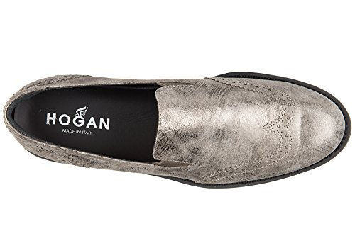 Hogan slip on femme en cuir sneakers h259 route pantofola or