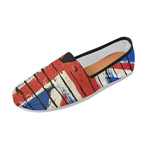 (INTERESTPRINT Fashion Painted British Union Jack Flag Slip-on Women's Casual Canvas Flat Shoes)