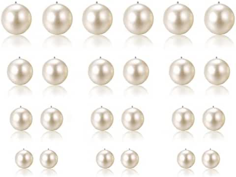 Halukakah Women's Pearl Earrings Stud Round Ball Jewelry(3 Colors 36 Pairs Set)