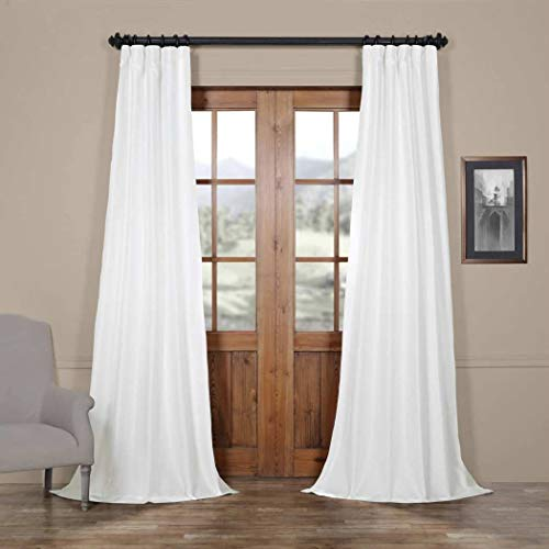 DH 1 Piece White Faux Silk Taffeta Window Curtain 108 Inches Single Panel, Milk White Fabrics Solid Color Window Treatment Blackout Energy Efficient Thermal Gorgeous Rod Pocket, Silk Polyester