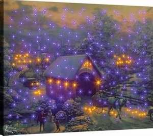(Thomas Kinkade Manual Woodworkers & Weavers 93309 Canvas Winter Evening Memories Fiber Optic With Remote - 20 x 16 -)