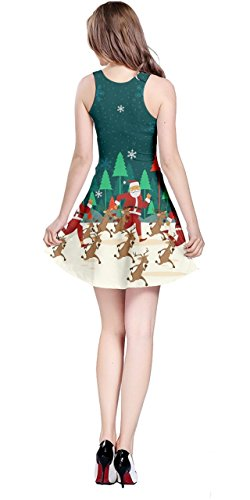 Winter Town Deer 5XL Santa CowCow Womens Xmas XS Xmas Snow Christmas Sleeveless Dress 7OqBZAwBYx