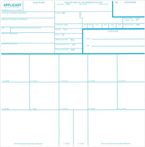 Fingerprint Cards, Applicant FD-258 (250pk)