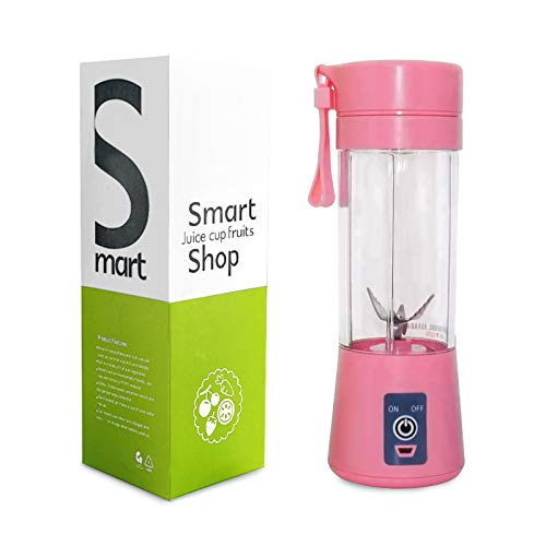 Portable Blender Detachable 6 Blades in 3 for for Superb Mixing Blender Single Serve USB Rechargeable Juice Cups Fruit Mixing Machine 380ML(Pink)