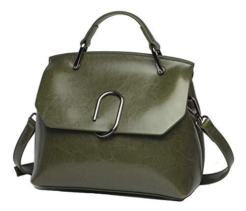 Women handbag Vintage Soft Genuine Leather Shoulder Bag (Green) (Satchel Large Soft Leather)