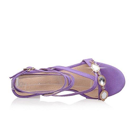 VogueZone009 Mujeres Tacón ancho Sólido Puntera Abierta Sandalias de vestir con Diamante Morado