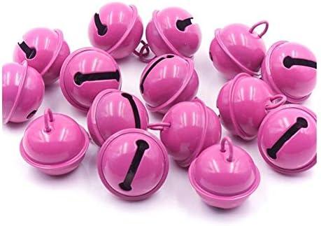 YSSP- 20PCS豊かでカラフルなクリスマス鐘ビーズジングルベルクリスマスパーティーの装飾ペンダントDIY工芸手作りアクセサリー (色 : ピンク)