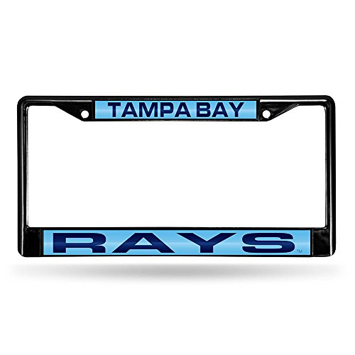 Rico Industries RIC-FCLB6601 Tampa Bay Rays MLB Laser Cut Black License Plate Frame