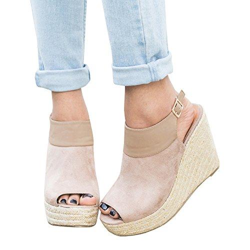 Syktkmx Womens Espadrille Platform Wedge Heel Peep Toe Ankle Strap Slingback Suede Sandals (7 B(M) US, (Suede Slingback Heels)