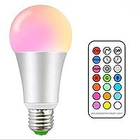 Bombilla led, Gluriz Bombilla RGB 10W E26, Focos Led 12 Colores, regulables con control remoto para la decoración del hogar, escenario, bar, fiesta y más (Plano)