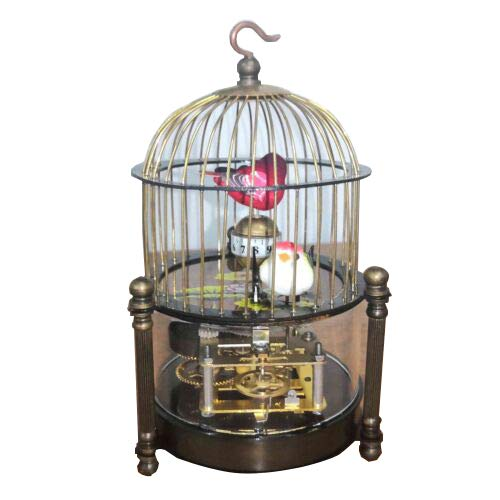 (Exquisite Brass Handmade Mechanical Birdcage Shape Clock)